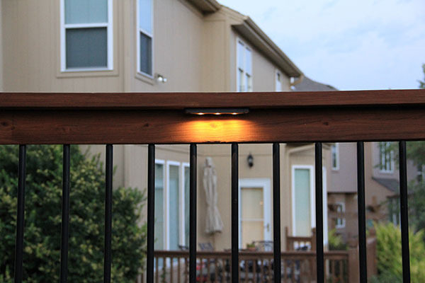 Deck Lighting, Deck lighting using lighted post caps and under railing LEDs., Under rail LED deck lights., Patios & Decks Design