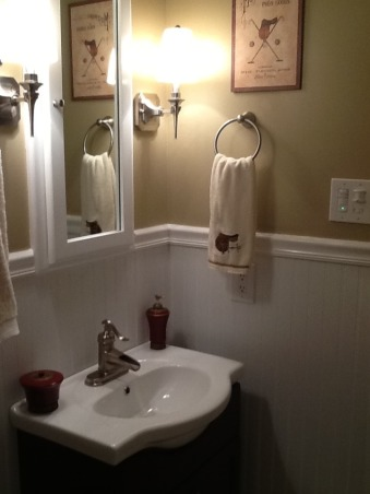 Small bathroom renovation, Homeowner small bathroom remodel, My husband and I remodeled our little bathroom.  We are extremely happy with the results!  We built a recessed medicine cabinet which creates more space.         , Bathrooms Design