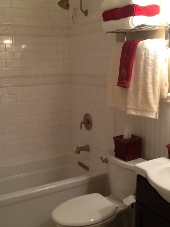 Small bathroom renovation, Homeowner small bathroom remodel, I love the tile!  We had a builders grade fiberglass tub surround and removed it and put in this Koehler soaking tub.       , Bathrooms Design