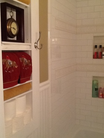 Small bathroom renovation, Homeowner small bathroom remodel, The built in shelves are a space saver.  They are recessed between two studs. My husband made the shelves adjustable.  There is also a full length mirror behind the bathroom to door to add to the appearence of a larger bath.       , Bathrooms Design