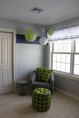 Whalers Colors Boy's Nursery, This is my new son's nursery.  My husband is a huge Hartford Whalers fan...Yes, I know they don't exist anymore, but I wanted to give the nursery a color palette from the team.  So, the only colors you will find here are navy blue, bright green, and a light grey.  I hope you love it as much as we do!!, I wanted to give my son something to look at during our nursing time, so I hung up these fun paper lanterns...He loves them!  , Nurseries Design