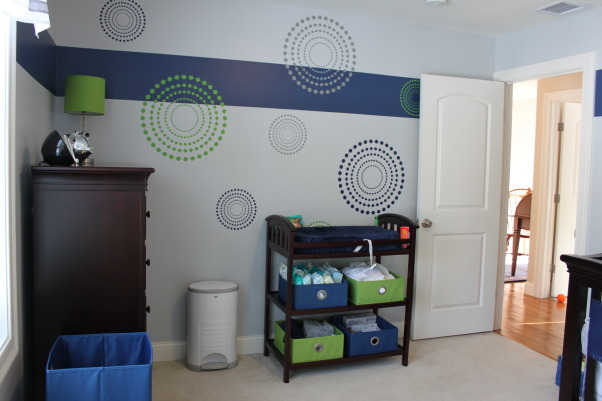 Whalers Colors Boy's Nursery, This is my new son's nursery.  My husband is a huge Hartford Whalers fan...Yes, I know they don't exist anymore, but I wanted to give the nursery a color palette from the team.  So, the only colors you will find here are navy blue, bright green, and a light grey.  I hope you love it as much as we do!!, The dots in these decals add some interest to the walls, all while sticking with the Whalers color scheme.  , Nurseries Design