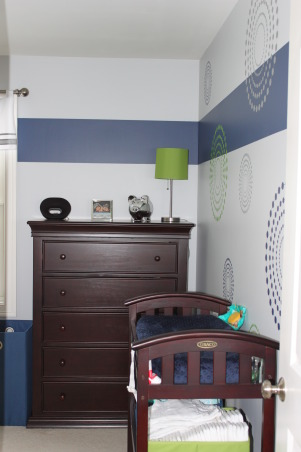 Whalers Colors Boy's Nursery, This is my new son's nursery.  My husband is a huge Hartford Whalers fan...Yes, I know they don't exist anymore, but I wanted to give the nursery a color palette from the team.  So, the only colors you will find here are navy blue, bright green, and a light grey.  I hope you love it as much as we do!!, Nurseries Design