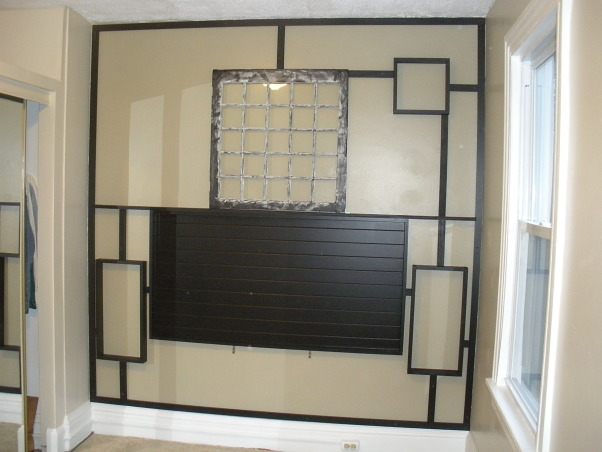 Asian Inspired Headboard, The bedroom had no headboard and was starkly plain.  I wanted something simple but absolutely transforming., Upper right box was added and we added the supports in a staggered manner, keeping vertigal lines together., Bedrooms Design
