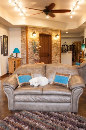 It Glows, Western Style, My photography studio gallery and reception area. A multi purpose space., The dog still gets to come to work. I made the pillows different fromt the drapes so it wouldn't be too matchy. The rug was an amazing find., Home Offices Design
