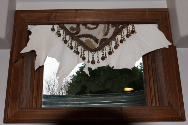 It Glows, Western Style, My photography studio gallery and reception area. A multi purpose space., Using the last bit of scrap of my expensive drapery, I layered it over a deer hide to give the windows a bit of flair., Home Offices Design