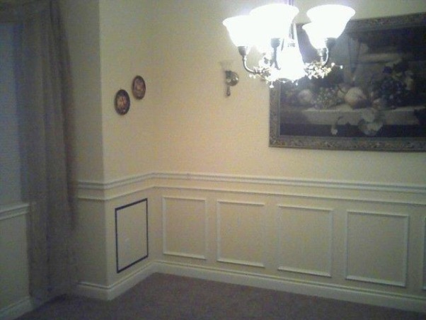 Formal dining room update, This formal dining room was dull. It definitely needs some warmth and character. , First step was to add wainscoting. My husband did an amazing job. It looked so good we added wainscoting to the entry staircase and hallway.                , Dining Rooms Design