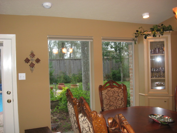 Traditional Dining Room, Dining room seats 10 with comfortable chairs & pleasant surroundings, ready for entertaining!, This is the outside wall overlooking the backyard garden and pool with the windows that extend from the floor to the ceiling.           , Dining Rooms    Design