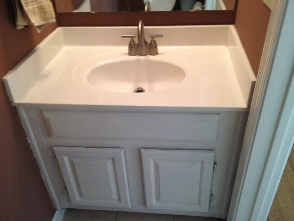 Small powder room makeover, 3x6 powder room renovated on a budget.  Repurposed backsplash and floating vanity skirt.  Total cost under $800., Here's where I started., Bathrooms Design