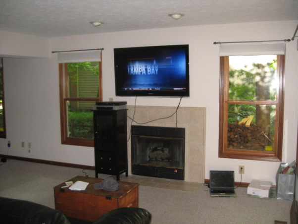 Family Room Makeover, Small family room after I built the new mantle, window seats and columns.  It was done on a budget with only $600 in materials., The before.  Nothing interesting about this room.    , Living Rooms Design