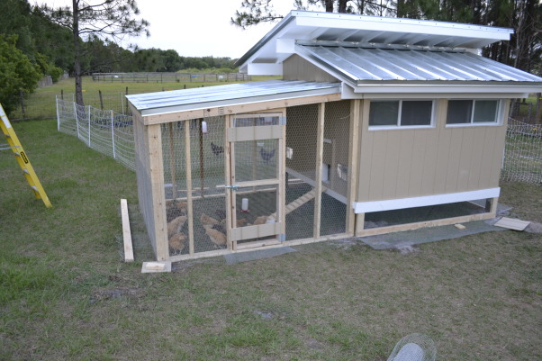 Chicken Coop, At leastthe chicken coop is prettier than the house!, Husband designed and built new coop for the babies. Yard is fenced with NoClimb Fence, with electric top and bottom then a second electric net fencing around the chicken play yard, Home Exterior Design