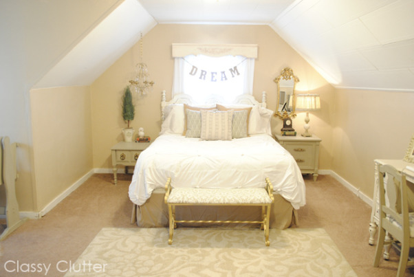 Romantic Master Bedroom (with a Nursery Nook!), This romantic master bedroom is our little retreat every evening. With a new baby, the nursery nook is perfect for us!, See details of this room at http://www.classyclutter.net/2013/03/my-master-bedroom-re-makeover.html, Bedrooms Design