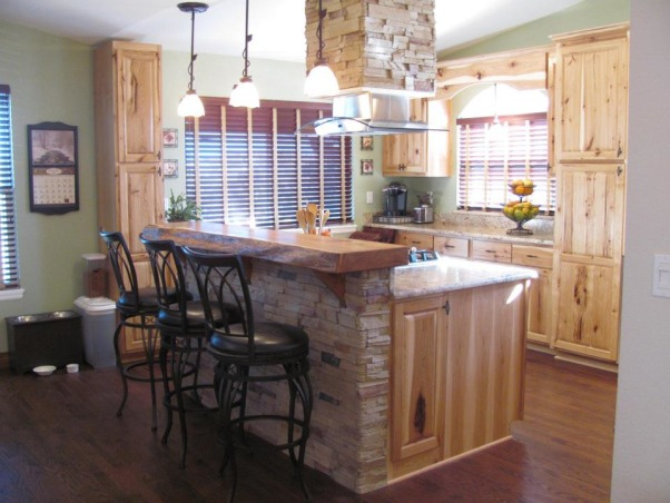 Colorado Kitchen, moved to home last year and wanted more functional kitchen, I love to cook.  This is our retirement home and we have embraced the rustic, western look for our new space., Window seat/storage on far wall keeps the openness of the beautiful window.       , Kitchens Design