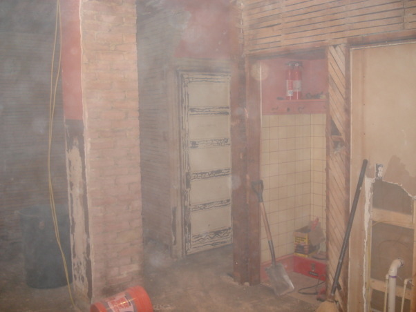 Pink Kitchen Redo, We inherited a carpeted 19x22 pink kitchen used as a laundry room and computer room as well., After removing the wood paneling, I found a chimney stack coming through the middle of the kitchen floor.  We would have liked to remove it but the cost to do that would have used up the entire budget., Kitchens Design