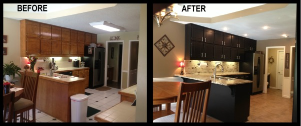 black cabinets, We remodeled our kitchen by painting existing cabinets black, changed hardware, tile floor, travertine with glass tile accent back splash, granite counter tops, removed popcorn ceilings, added can lights, fresh paint., Kitchens Design