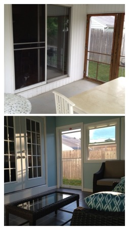 From unusable space to Sun Room, We had an unusable porch that was run down and an eye sore. We recently renovated this space into three seasons sun room. , Before and after pictures of the renovation of our porch into a three seasons sunroom. Renovations took nine days., Porches Design