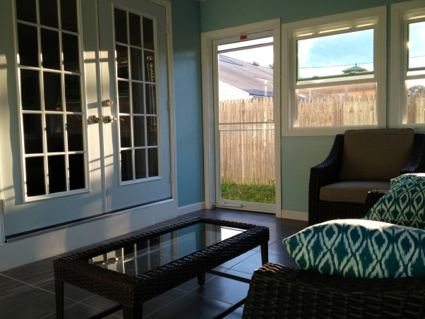 From unusable space to Sun Room, We had an unusable porch that was run down and an eye sore. We recently renovated this space into three seasons sun room. , French doors leading out to our three seasons room, Porches Design