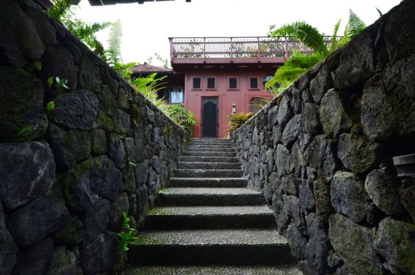 Bali House and Bali Cottage Hawaii, Bali and Asian Inspired tropical gardens in Hawaii., Rock Wall entry, lava rock, stone steps, Gardens Design