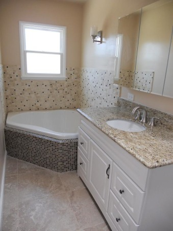 DIY-small/narrow bathroom, not complete yet, 2 people soaking tub, lots of lights and new fixture , Bathrooms Design