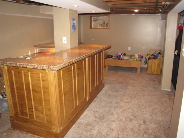 Basement Stair Replacement, Replaced existing basement stairs with completely custom hardwood stairs., Different angle of new bar, Basements Design