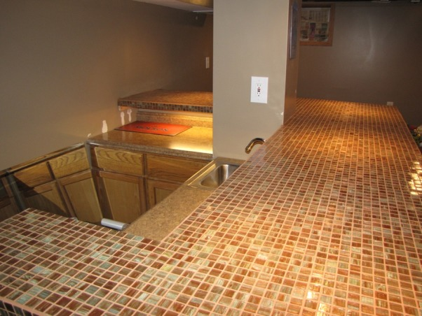 Basement Stair Replacement, Replaced existing basement stairs with completely custom hardwood stairs., Glass tile bar top, Basements Design