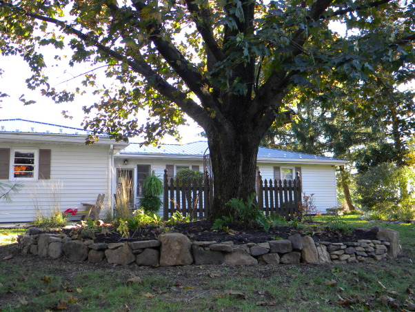 A&C Ventures ...With us, its always an exciting venture., We bought our 1956 bungalow style rancher in 2012 and haven't looked back.  We're excited and always scheming ways to make it a greater place to call an already warm and cozy home., Another angle of the rock garden around the King Crimson., Home Exterior Design