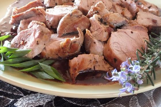 Pork Tenderloin with Merlot-Shallot Sauce