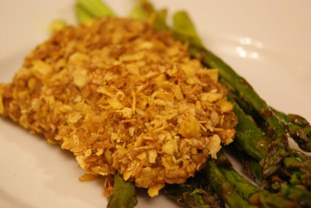 cornflake covered fried chicken