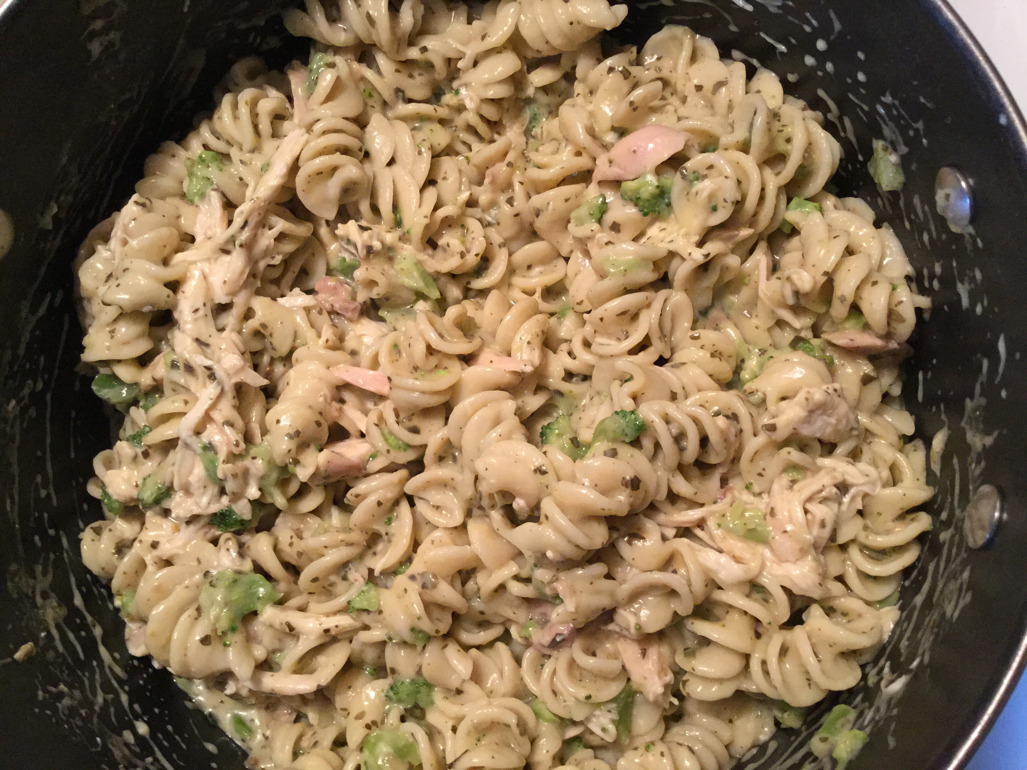 20 Minute Creamy Pesto Chicken and Bow Ties