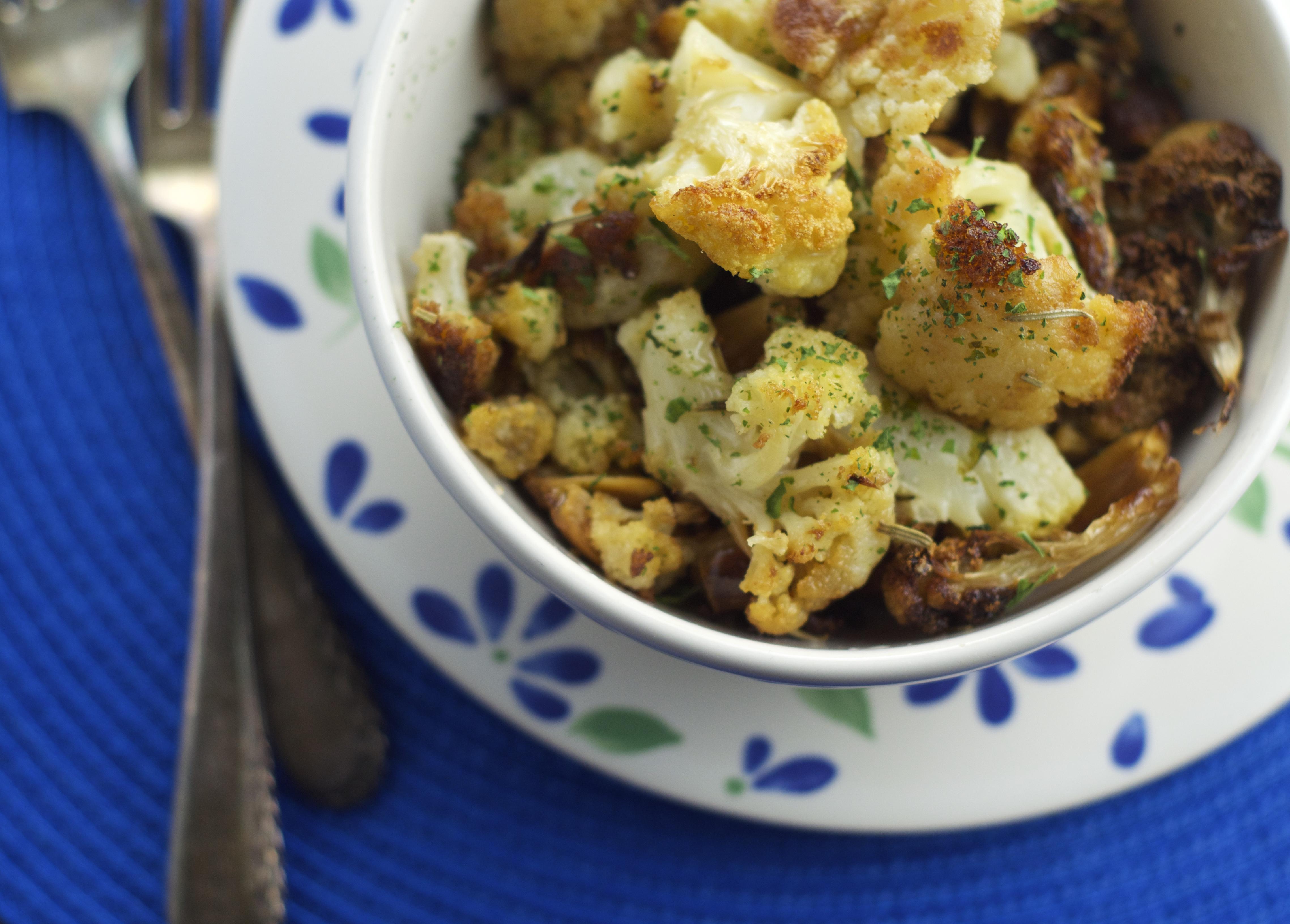 Roasted Cauliflower & 16 Roasted Cloves of Garlic