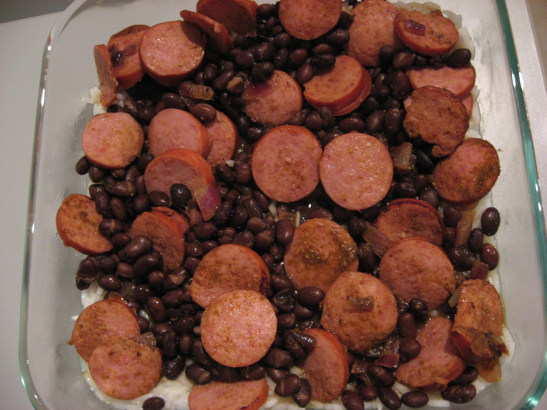Curried Kielbasa and Black Beans