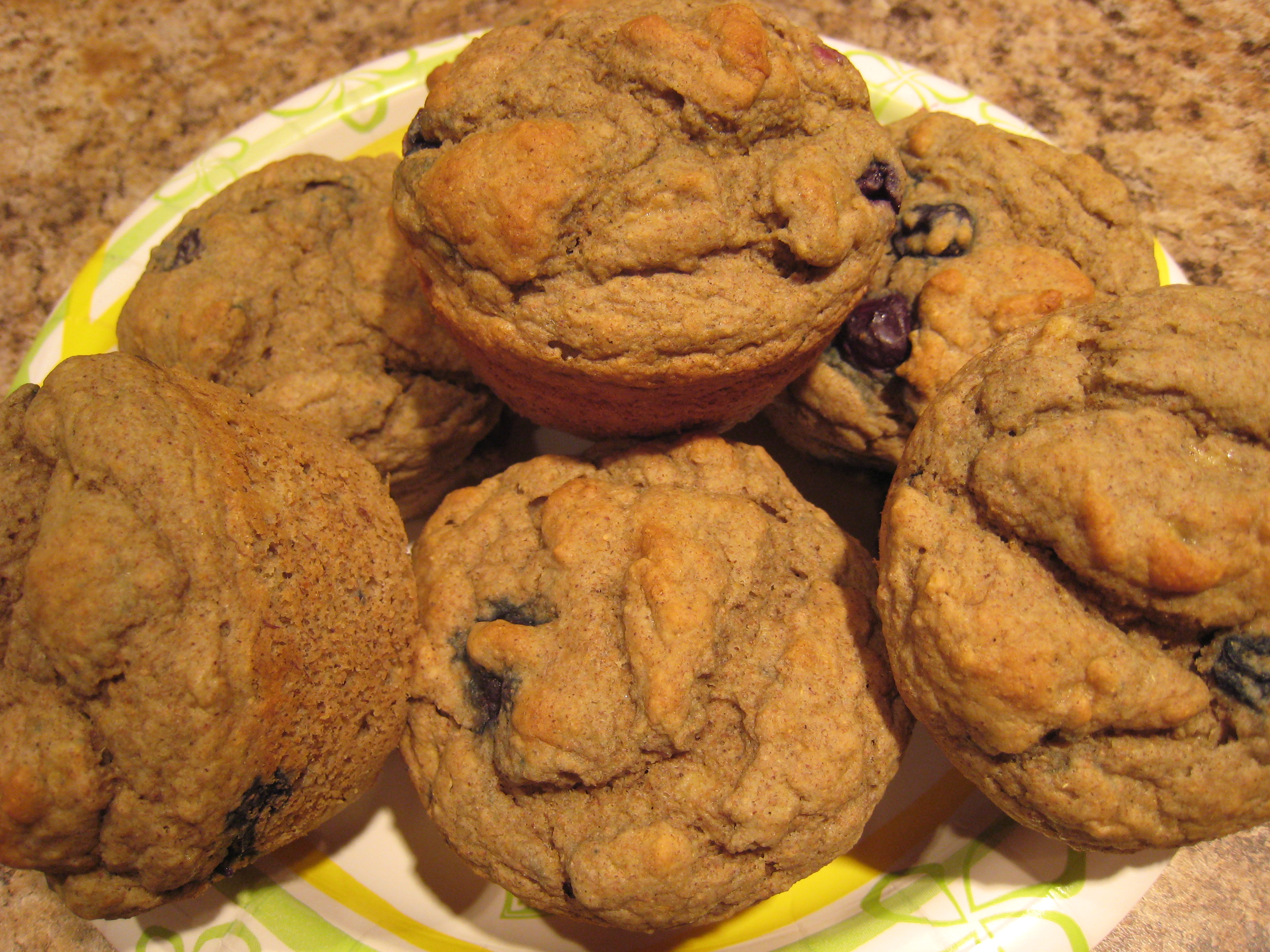 Kittencal's 1-Gram Low Fat Banana-Blueberry Muffins