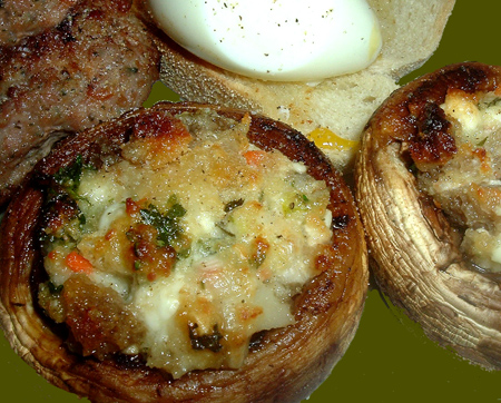 Mushrooms Stuffed With Feta Cheese And Garlic