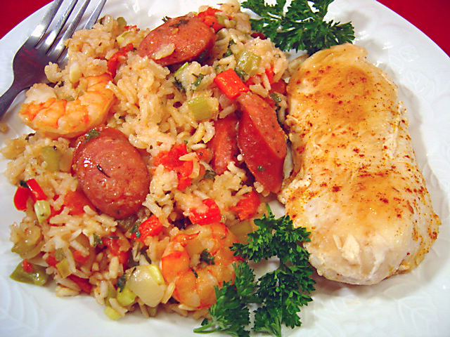 Chicken, Shrimp and Andouille Jambalaya Recipe
