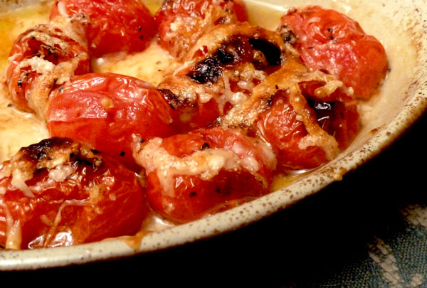 Baked Cherry Tomatoes with Parmesan Topping Recipe