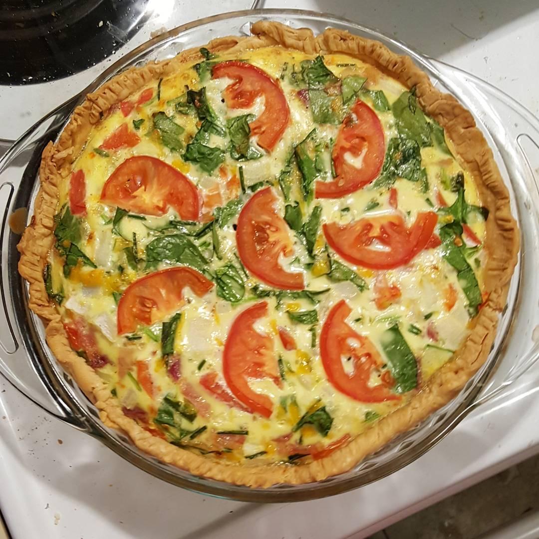 Spinach, Tomato and Feta Quiche