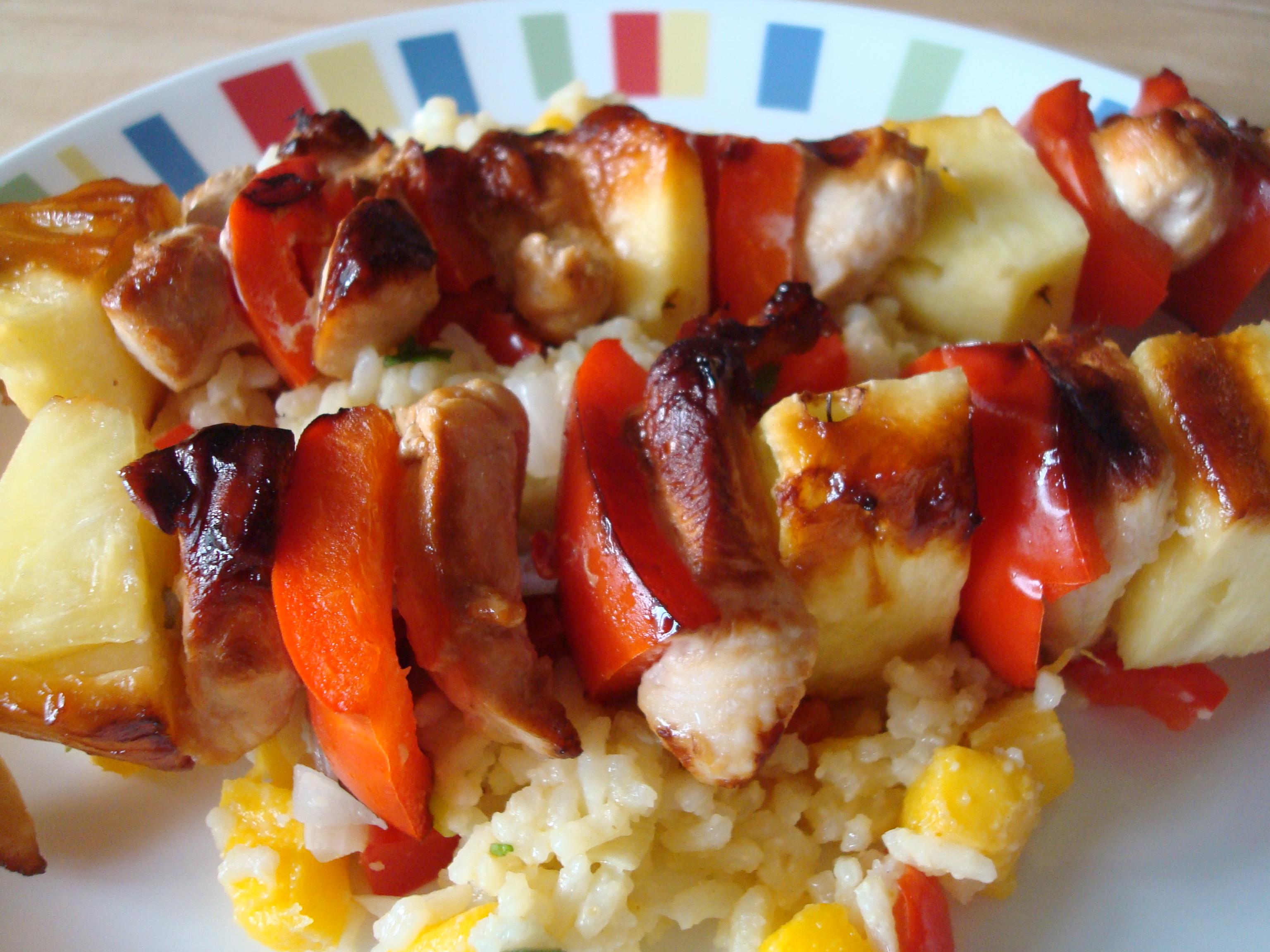 Nif's Grilled Hawaiian Chicken Skewers