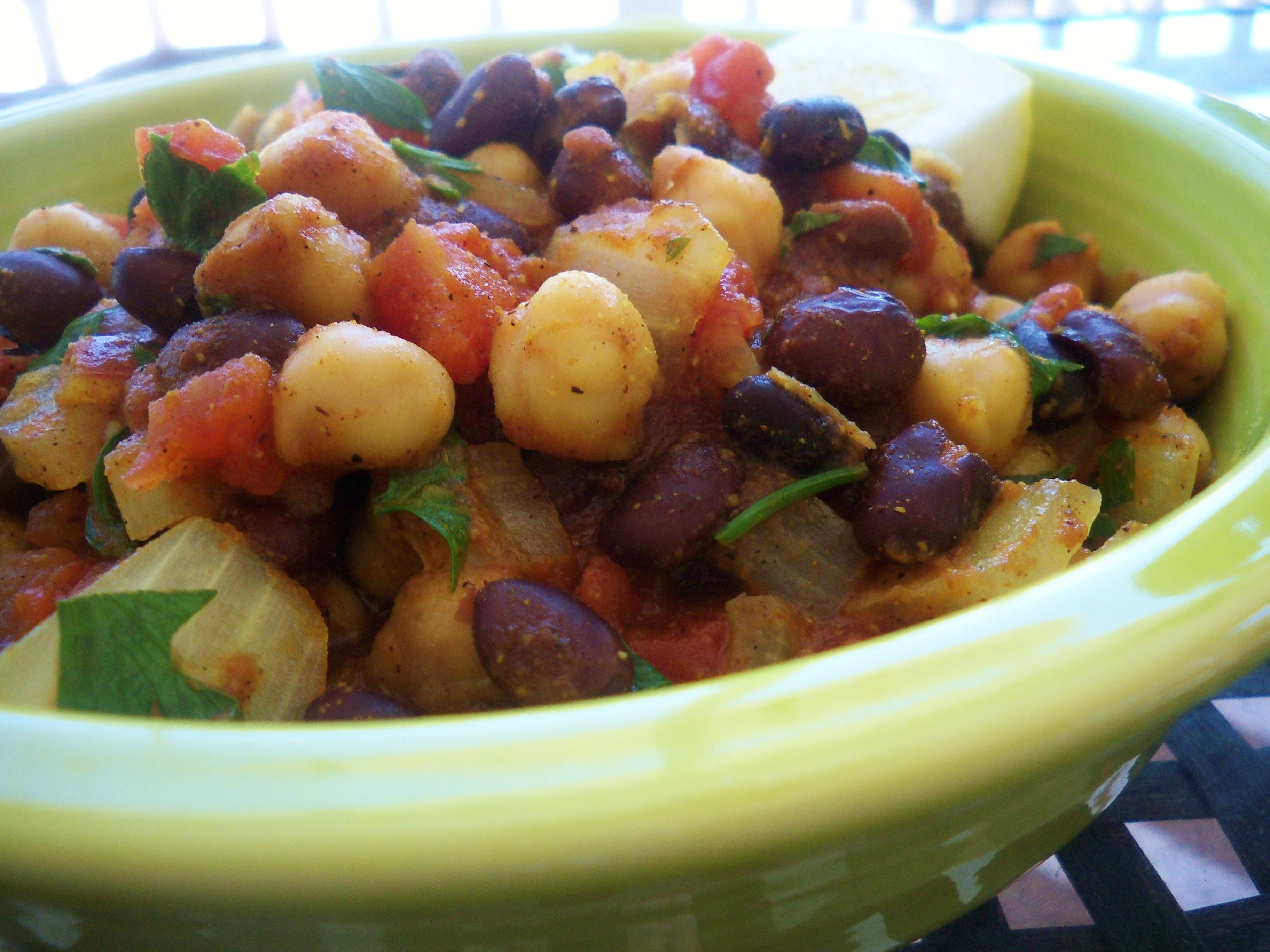 Curried Chickpeas and Black Beans-Low Fat
