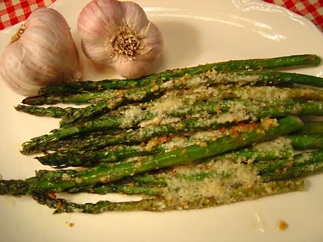 Garlic Roasted Asparagus With Parmesan