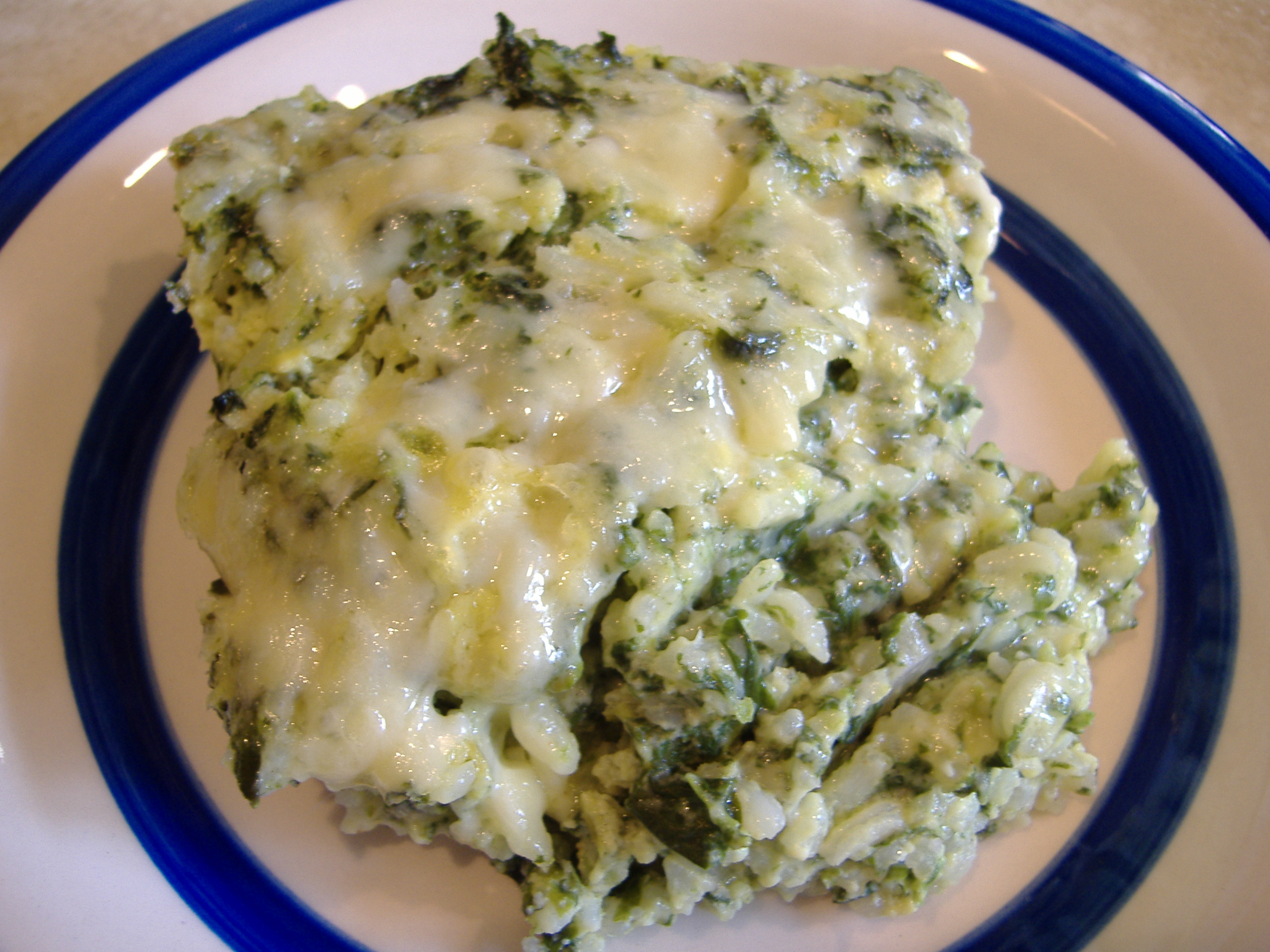 Kittencal's Spinach Parmesan Rice Bake Recipe