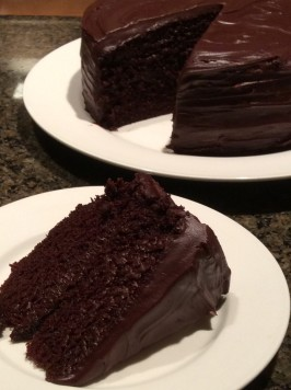 Old Fashioned Chocolate Cake With Glossy Chocolate Icing. Photo by Mrs Hickson