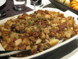 Bread Stuffing W/ Pears, Bacon, Pecans & Caramelized Onions. Photo by troyh