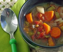 Lentil-Veggie Soup (Crock Pot). Photo by Redsie