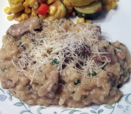 Garlicky Pork and Mushroom Risotto. Photo by PaulaG