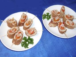 Oriental Finger Food, Rolled Chicken & Mushroom Omelette. Photo by Bergy