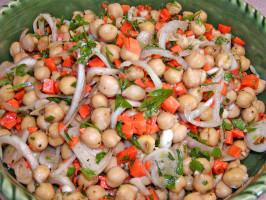 Warm Chickpea Salad With Shallots and Red Wine Vinaigrette. Photo by Rita~