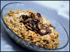 Pearl Barley Risotto (orzotto) With Sauteed Mushrooms. Photo by kzbhansen