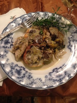 Crock Pot Chicken With Mushrooms and Leeks (Low Carb). Photo by Miss Fannie
