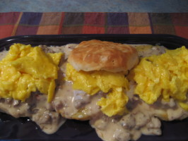 Biscuits & Gravy & Eggs Extraordinaire. Photo by Pellerin