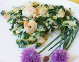Huevos Revueltos - With Prawns and Baby Spinach. Photo by Rita~